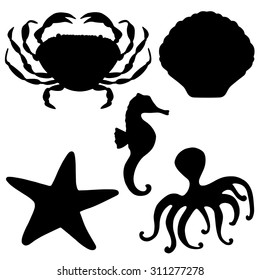 Sea animals black silhouettes set, crab, starfish, shell, octopus, sea horse closeup isolated on white background