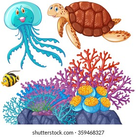 Sea animals and coral reef illustration