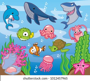 Sea animals, cute vector