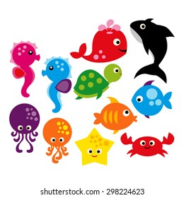 Sea animals. Cute vector.