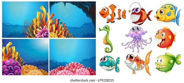 Sea animals and four scenes underwater illustration