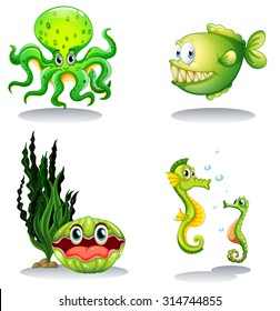 Sea animals in green color illustration