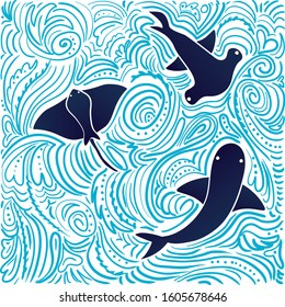 Sea animals with hand-drawn abstract background. Shark, hammerfish, ramp, waves, patterns, scribbles. Color vector illustration, flat design. Poster, card, wallpaper, wrapping paper.