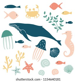 Sea animals illustration. Vector cartoon underwater creatures collection: jellyfish, starfish, ocean, sea horse, shell, fish, whale. Set of silhouettes in the minimal style