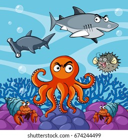 Sea animals living under the ocean illustration