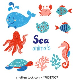 Sea animals set in red and blue colors. Doodle children drawings. Vector illustration.