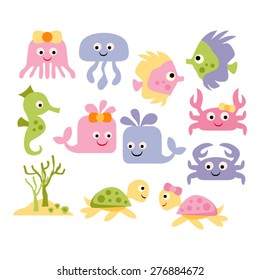 Sea animals vector.