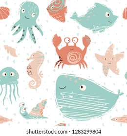 Sea baby cute seamless pattern. Octopus, dolphin, jellyfish, seahorse, starfish, crab, snail, whale print. Ocean animal illustration for nursery t-shirt, kids apparel, baby background. Summer design.