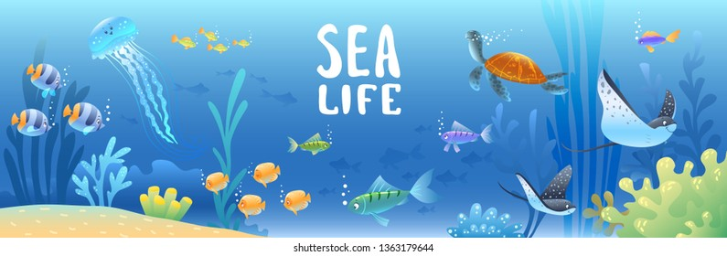 Sea background with beautiful cartoon fish, turtle, and other swimming underwater. Cool wallpaper. Vector illustration