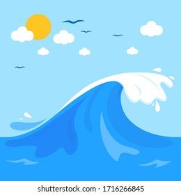 Sea background with big wave. Vector illustration.