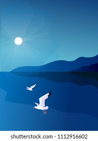 Sea background. Sea coast, noon, sky, sun, gulls. Vector illustration