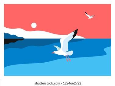 Sea background. Sea coast, noon, sky, sun, flaying seagulls. Vector illustration
