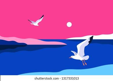 Sea background. Sea coast, noon, sky, sun, and gulls. Vector illustration
