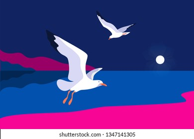 Sea background with gulls. Sea coast, night, sky, moon and flaying seagulls. Vector illustration