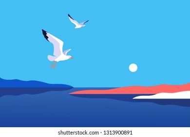 Sea background with gulls. Sea coast, noon, sky, sun, flaying seagulls. Vector illustration