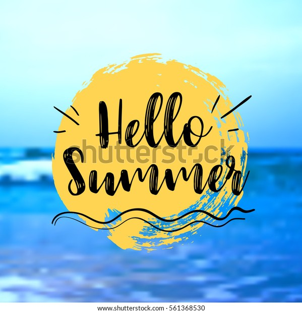 Sea Background with Lettering Hello Summer. Vector Illustration