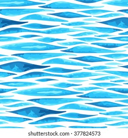 Sea background made in vector. Seamless pattern. Imitation of watercolor.
