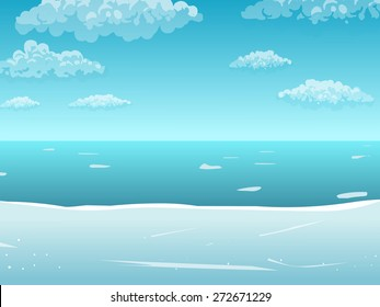 Sea background. Vector cartoon illustration with sea and clouds