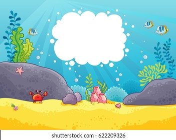Sea background. Vector illustration in a children's style on the marine theme with space for text. Seabed.