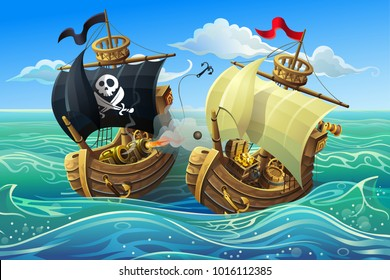 A sea battle of wooden ships. Attack of pirates on a merchant ship. Vector illustration.