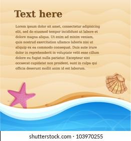 Sea beach background for design. Vector illustration