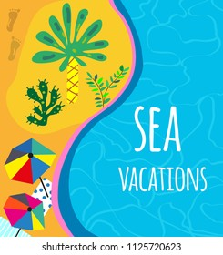 Sea and beach background for the vacation or party invitation, bright design. Vector graphic illustration