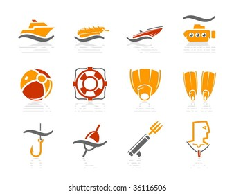 Sea, Beach, Fishing and Diving icons. Vector icon set. Three color icons.
