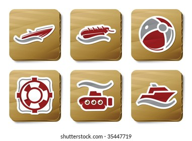 Sea and Beach icons. Vector icon set. Three color icons on cardboard tags.