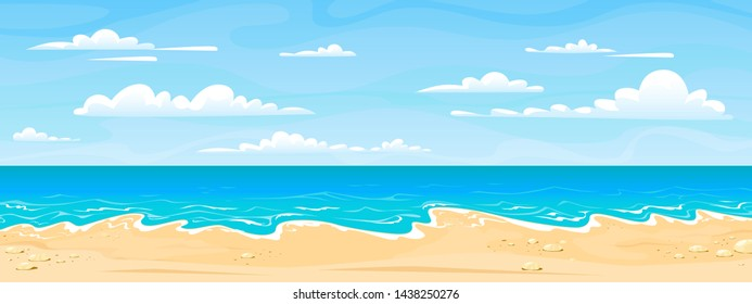 Sea beach landscape. Cartoon summer sunny day, ocean view horizontal panorama, water sand and clouds. Vector illustration beach vacation background