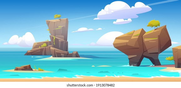 Sea beach, mountains in water and clouds in blue sky. Vector cartoon summer landscape of ocean shore, rock islands with green trees and stones. Seascape panorama, vacation and resort concept
