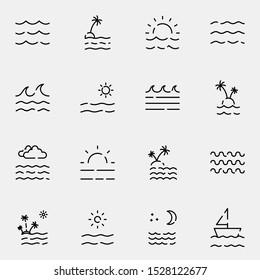 sea, beach, ocean outline icon set. creative sea line icons sign vector illustration.