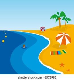 Sea and beach on paradise