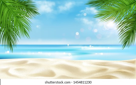Sea beach with palm tree leaves background, empty summer time landscape, ocean view with sandy coastline and blue cloudy sky, tropic seascape template for travel promo realistic 3d vector illustration