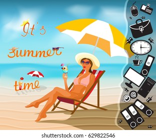 Sea beach people sexy beauty fashion girl travel banner,Summer time tropical travel background,card.Vector.Work Dream vacation.summer vacation,sea,umbrella,deckchair,female legs.sexy legs beach.