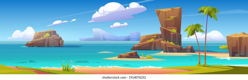 Sea beach, rock islands in water and clouds in blue sky. Vector cartoon summer landscape of ocean shore, mountains, green grass and palm trees on sand beach. Seascape panorama