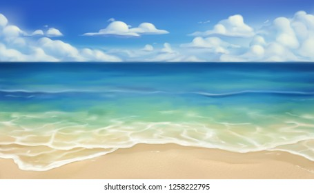 Sea beach. Sand and wave. Realistic vector background