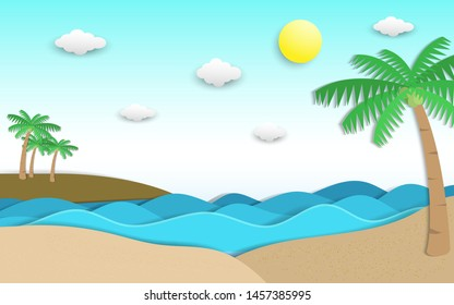 Sea and beach scene in summer with coconut tree, sun, wave and cloud decoration. scene of the blue sea with big waves. summer time scenery in paper cut and craft style. vector, illustration.