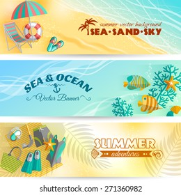 Sea beach summer holiday adventures horizontal banners set with swimming and diving accessories abstract isolated vector illustration