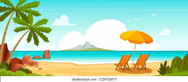 Sea beach and sun loungers. Seascape, vacation banner. Cartoon vector illustration
