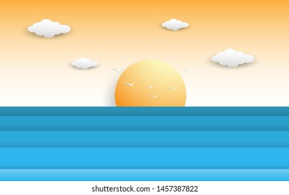 Sea and beach sunset scene in summer with sun, wave and cloud decoration. scene of the calm blue sea. summer time sunset scenery in paper cut and craft style. vector, illustration.