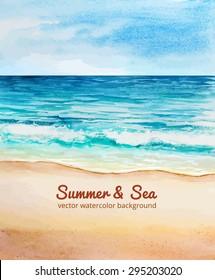 sea beach watercolor vector
