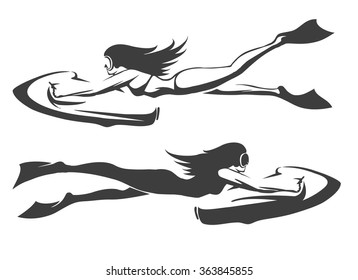 Sea bob diving club emblem set. Girls in swimwear drive underwater scooter. Isolated on white.
