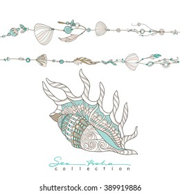 Sea boho collection cards in boho style. Sea shells on rope and big decorative sea shell. Vector illustration.