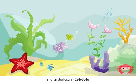 Sea bottom with fishes, starfish, crab and seaweed