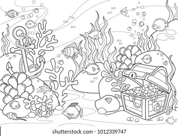 Sea bottom illustration, line artwork, format A3
