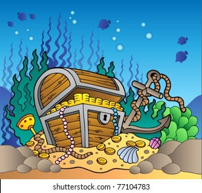 Sea bottom with old treasure chest - vector illustration.