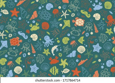 Sea bottom species hand-drawn doodle print in green palette