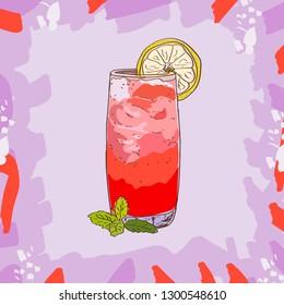 Sea Breeze cocktail illustration. Alcoholic classic bar drink hand drawn vector. Pop art