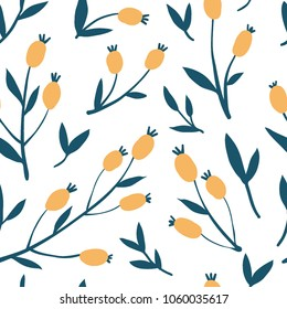 Sea buckthorn branch seamless pattern. Texture with vintage hand drawn berries. Modern and original textile, wrapping paper, wall art design. Vector. Floral simple minimalistic graphic design