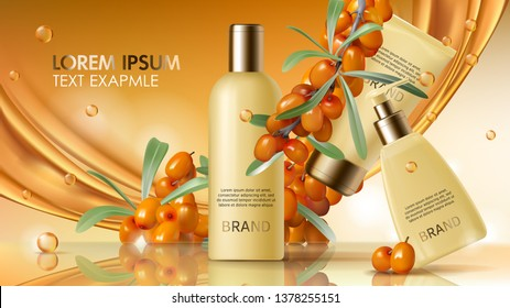 Sea buckthorn cosmetics vector realistic ads poster. Elegant packaging with cosmetic cream or lotion, branch with juicy orange seaberry, olive green leaves and flowing golden oil, magazine mockup